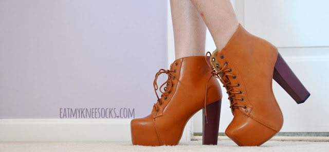 Milanoo's camel/tan-colored high-heel booties are a dupe of the Jeffrey Campbell Lita platform booties for a more affordable price.