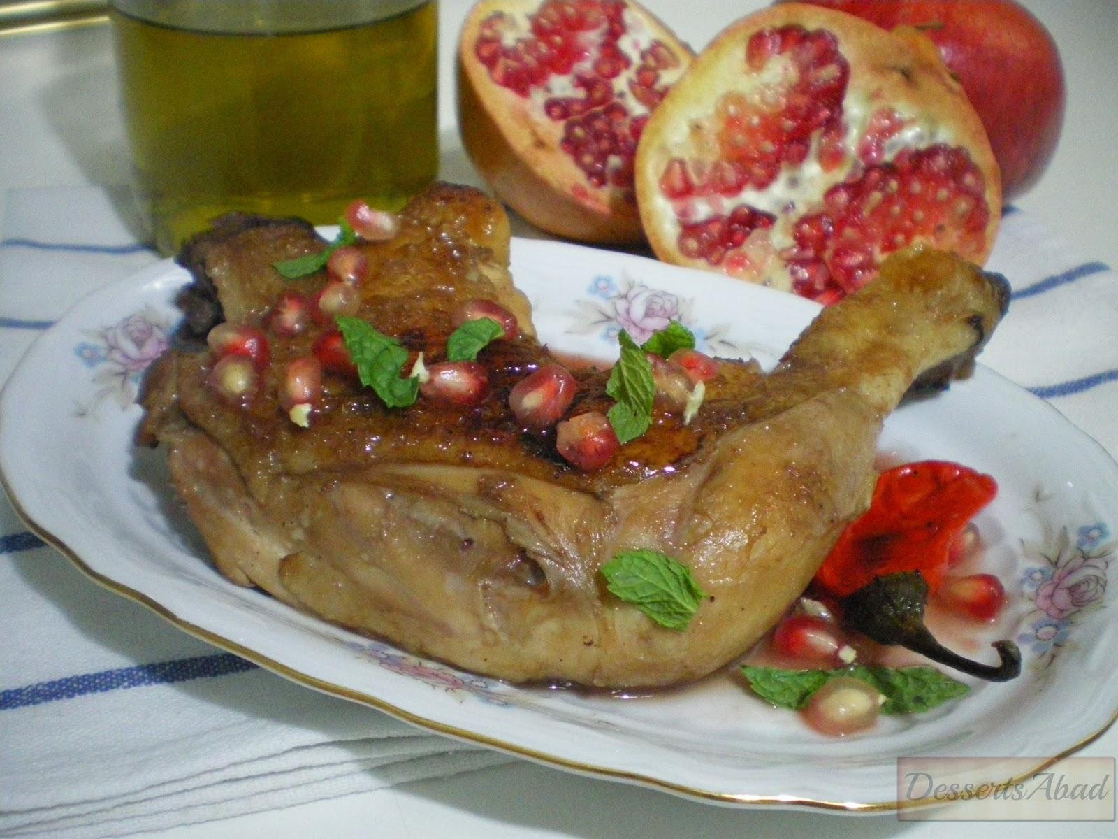 Muslo de pollo con salsa de granada