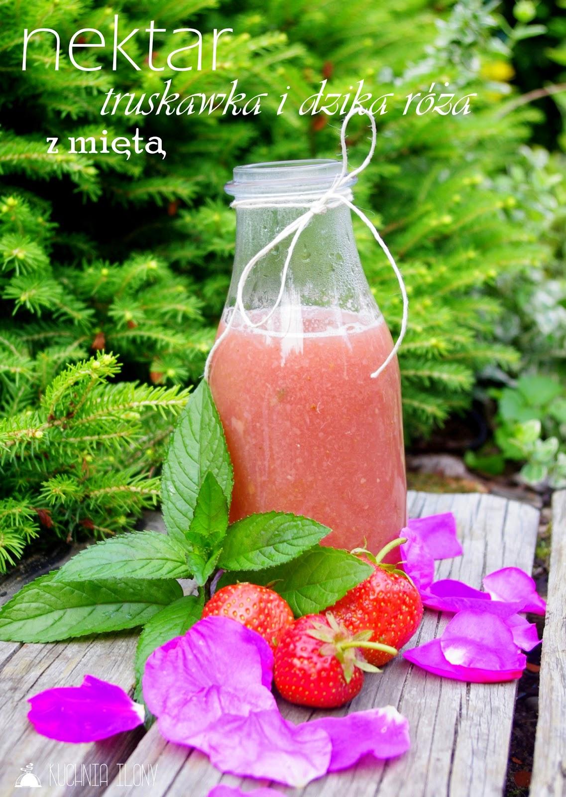 nektar z truskawek, dzikiej róży i mięty, nektar, napój orzeźwiający