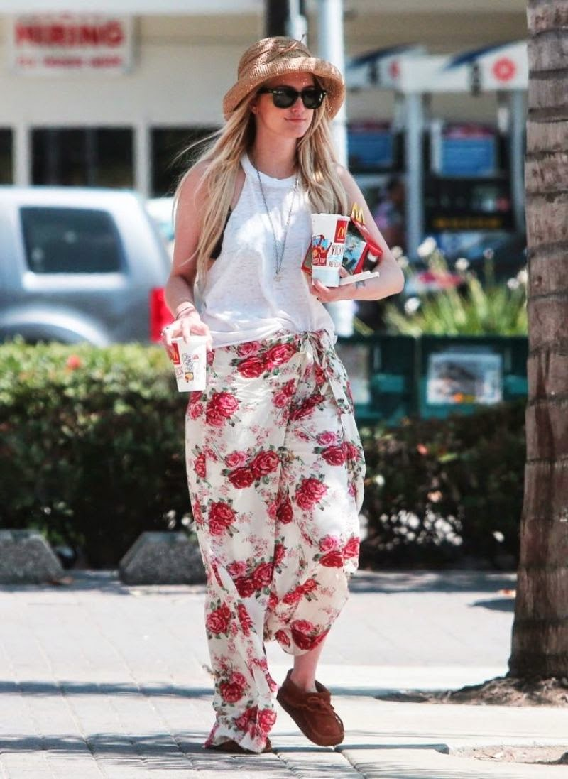 Ashlee Simpson in a floral maxi skirt and white top in LA