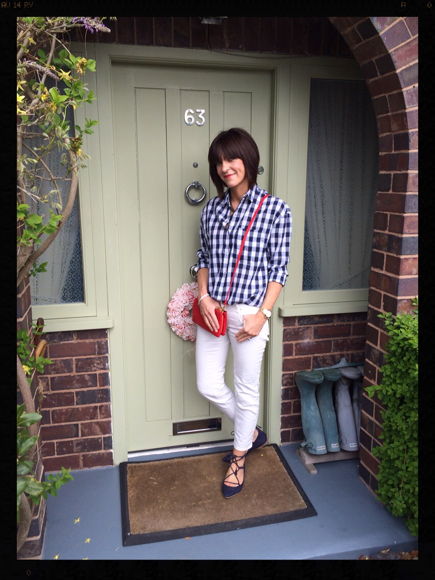 My Midlife Fashion, Fab 40s, Gingham, White Jeans, Lille Lace up, Zara, Boden
