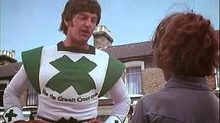 David Prowse as The Green Cross Code Man in the 1970s