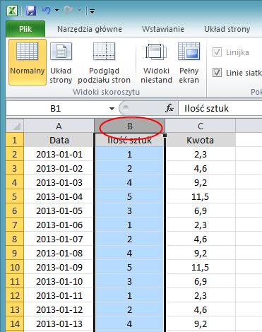 Blokowanie kolumny - screen Excel 2010