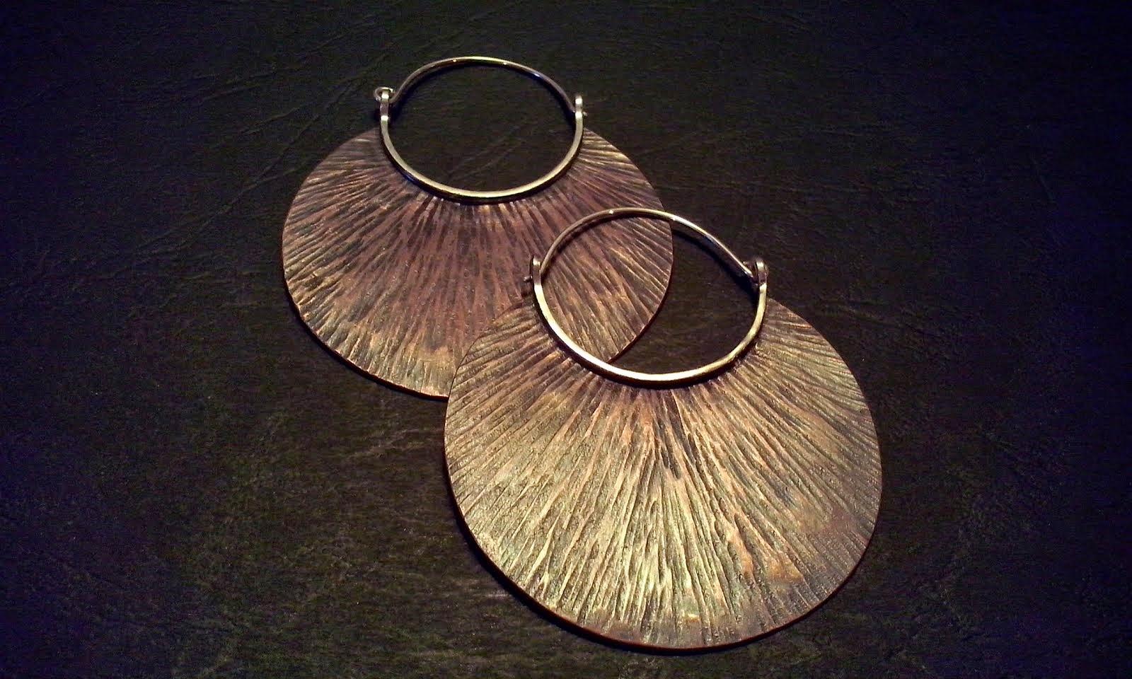 Aros cobre texturado y envejecido, plata (305)
