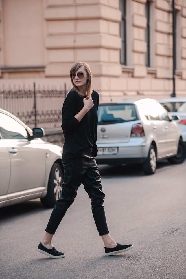 leather sweatpants outfit, black slip on sneakers, all black outfit, blogger