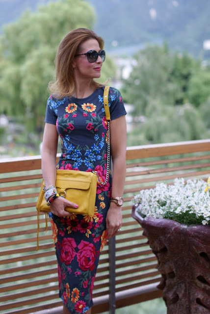 summer outfits, bodycon midi dress, Asos floral dress, Rebecca Minkoff yellow mac bag, Fashion and Cookies