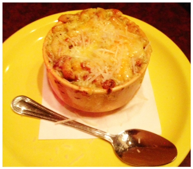 Dish: 3-Cheese Macaroni & Country Ham Souffle