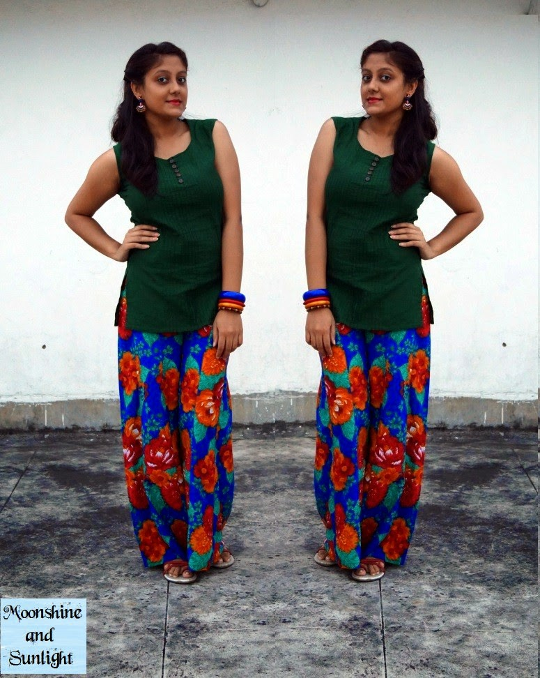 OOTD: DIY Floral palazzo pants , Indian fashion blog, Bangalore, Kolkata