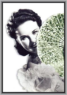 dama vintage con abanico para scrapbooking