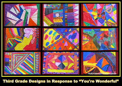 "photo of: Third Grade Designs in Response to ""You're Wonderful"" Picture Book"