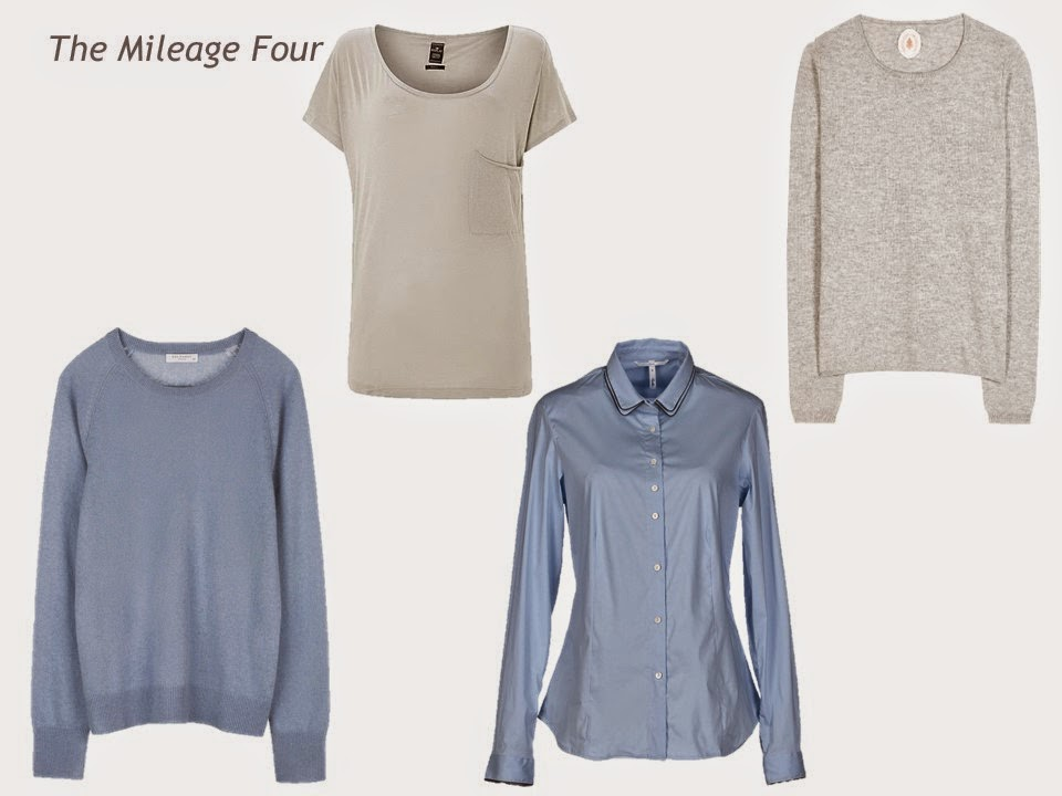 A Mileage Four - two sweaters, a tee shirt and a blouse -in pearl grey and smoky blue