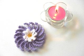 Crochet Romantic Flower Applique