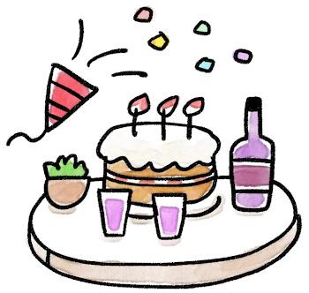 パーティのイラスト「ケーキとワインとクラッカー」