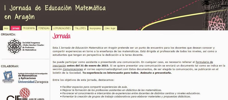 I Jornada de Educación Matemática en Aragón