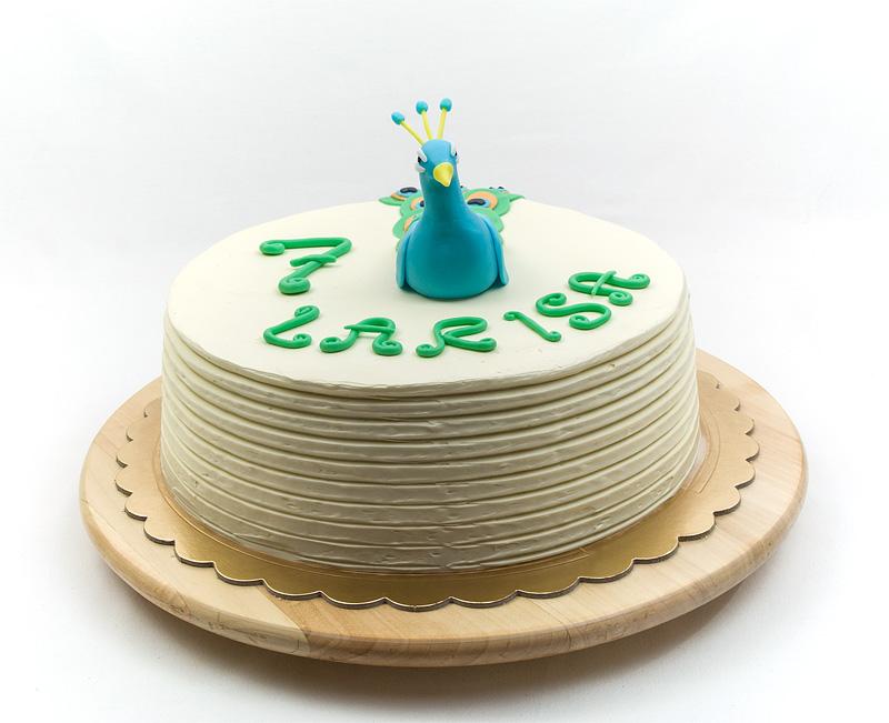 Peacock cake fondant figurine front