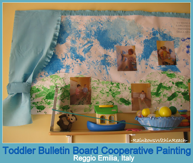 Bulletin Board of Collaborative Toddler Painting in Reggio Emilia, Italy ( via RainbowsWithinReach)