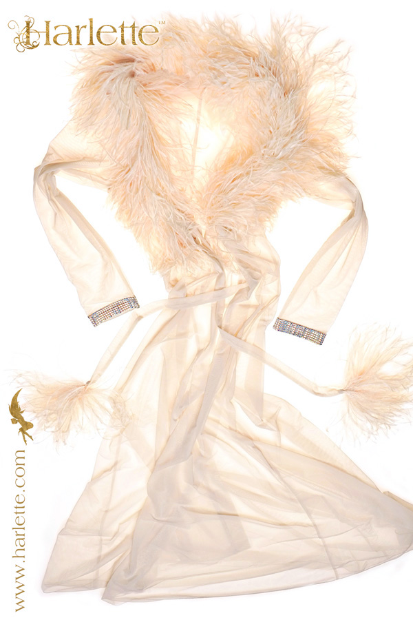 Crème Contessa with feather collar and SWAROVSKI elements cuffs launched Paris Lingerie Show Jan 2013