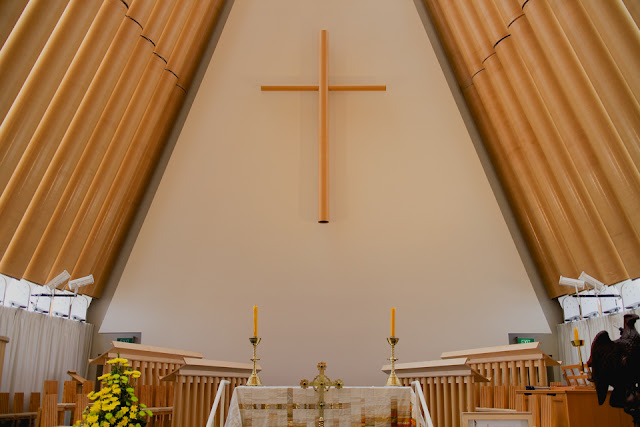 cardboard cathedral altar and cross