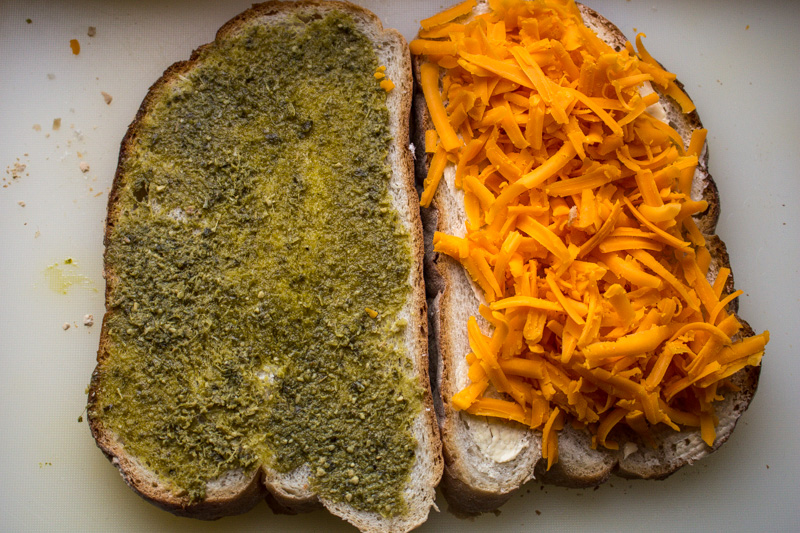 Red Leicester Cheese and Pesto for sandwich | Svelte Salivations