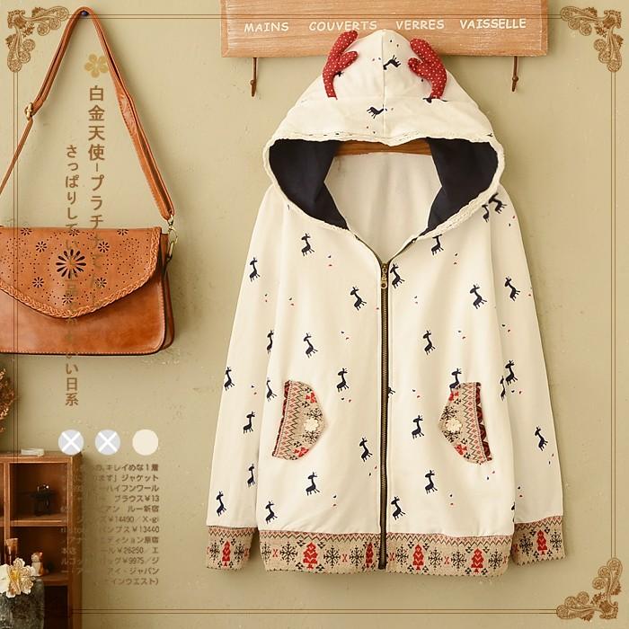 áo khoác hình chú hươu phong cách nhật bản