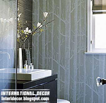 Modern wallpaper for bathrooms 2014 10 basic rules for for Gray bathroom wallpaper