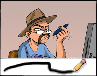 Image: Tom Preston, a digital cartoonist wearing a fedora, attempts to draw a line but comes out with a pixelated, scalonated squiggle. Caption: