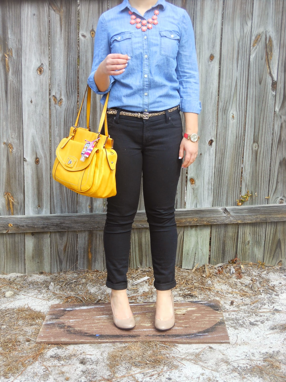 Chambray, Leopard, and Nude Heels. Chambray, black jeans, leopard belt, coral statement necklace, nude heels, yellow purse. http://mybowsandclothes.blogspot.com/.