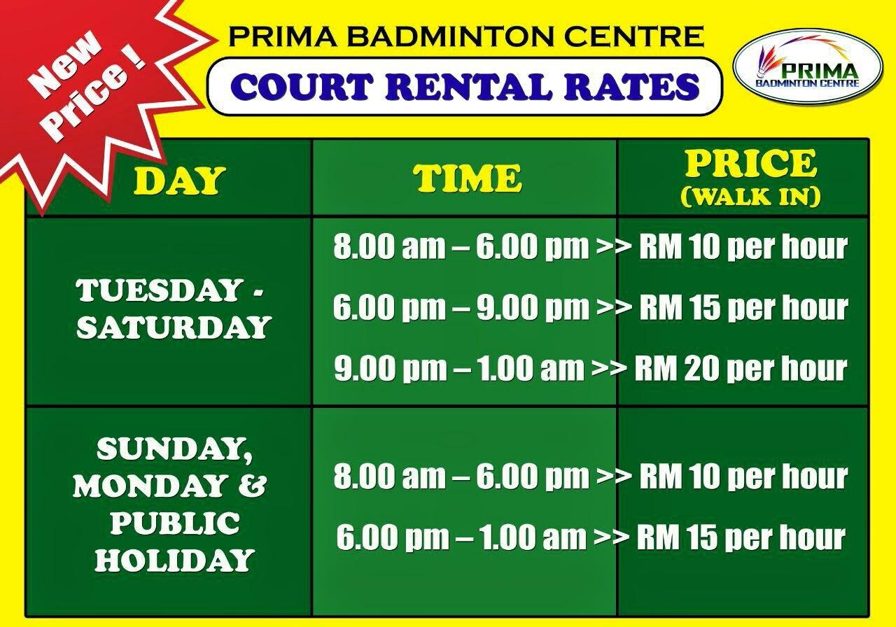 Court Rental Price