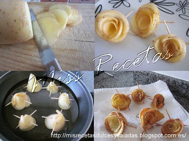 Mis recetas dulces y saladas rosas de patatas fritas - Decoracion de ensaladas ...