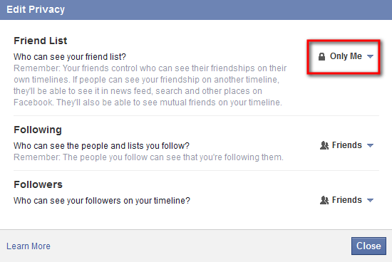 how to hide friends in facebook