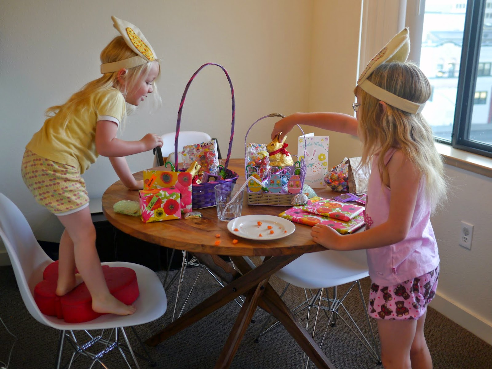 the girls were excited to see that the easter bunny had visited our home
