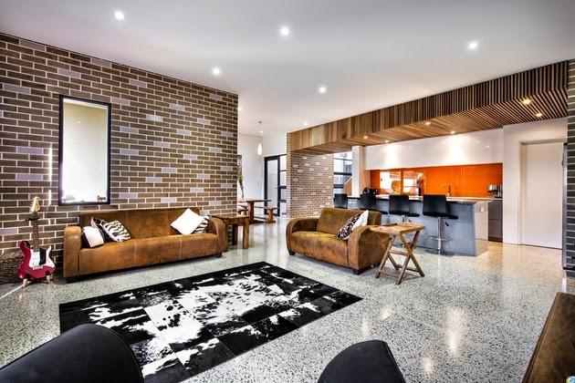 ini tergolong glamor tapi menyuguhkan sentuhan klasik dengan dinding kerikil bata yang diperl Rancangan Dekorasi Rumah Mewah dengan Kantilever
