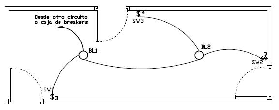 Plano electrico de interruptor de tres y cuatro vias