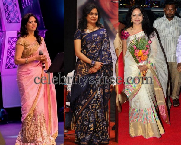Singer Sunitha in Tissue Chiffon Saree