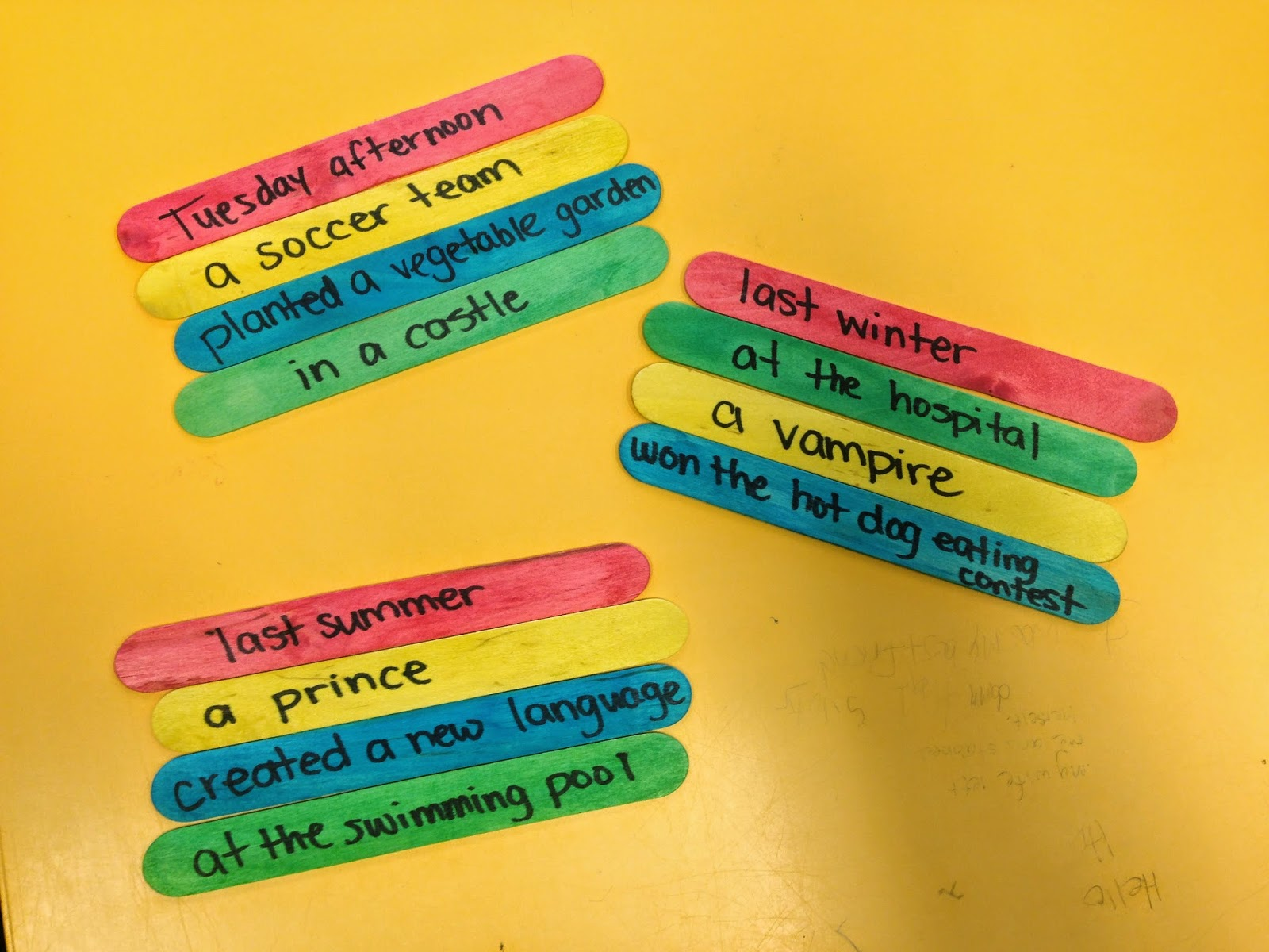 http://oneteachersadventures.blogspot.ca/2014/04/teaching-5-ws-with-story-sticks.html