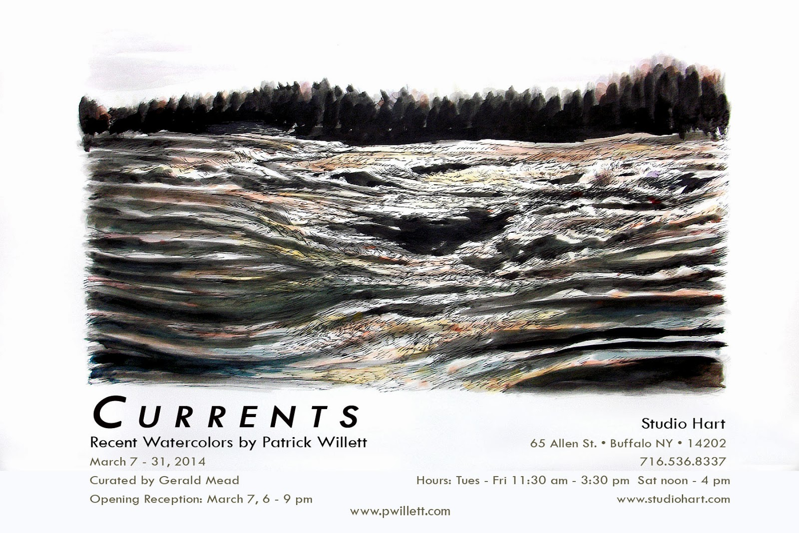 Currents, New Work by Patrick Willett, watercolor painting, Studio Hart, Allentown first fridays, Albright Knox, Burchfield Penney Art Center