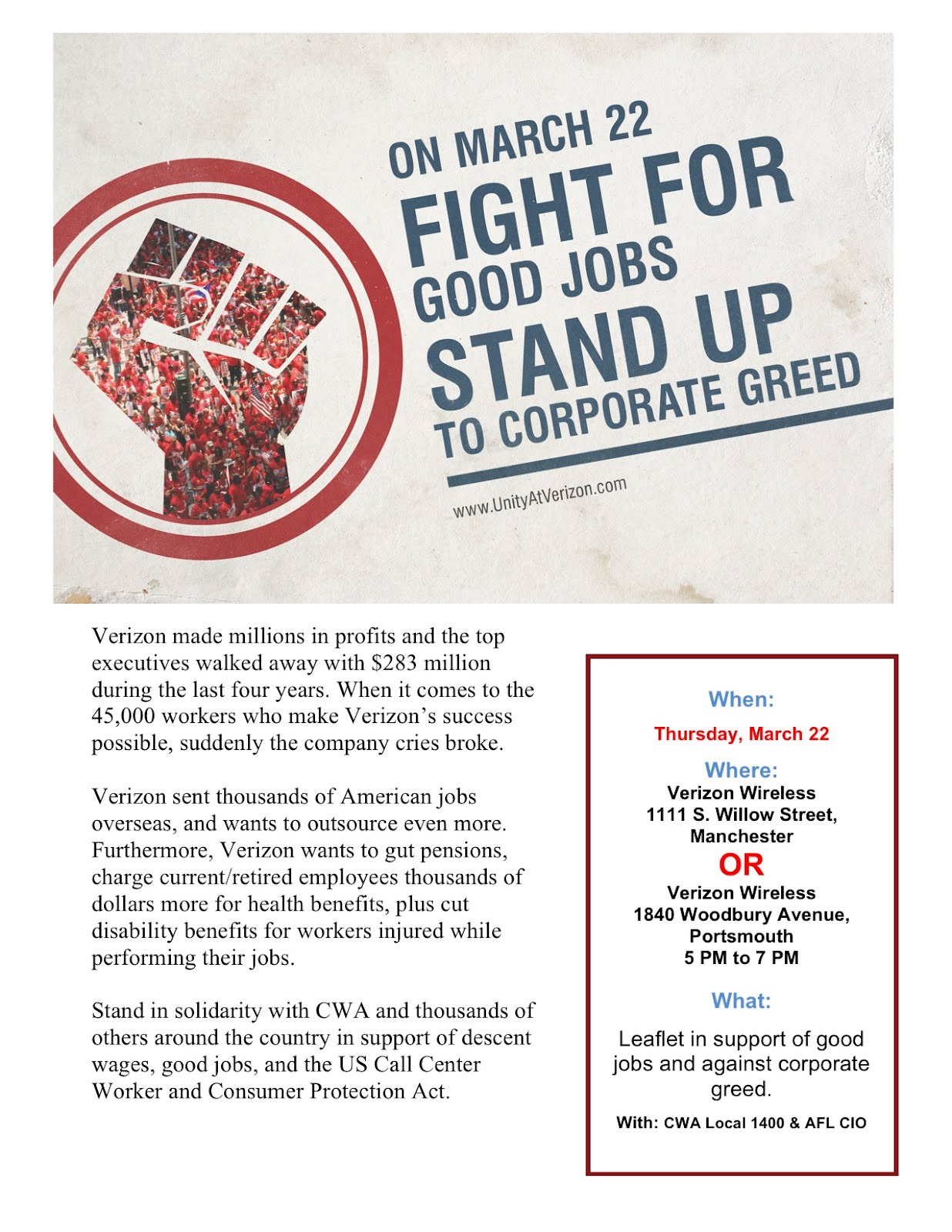 National Day of Solidarity, Come Support Verizon Wireless Workers ...