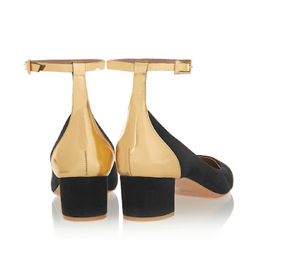 Chloe Black and Gold low block heels with ankle strap
