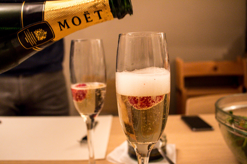 Moet & Chandon champagne with a raspberry | Svelte Salivations