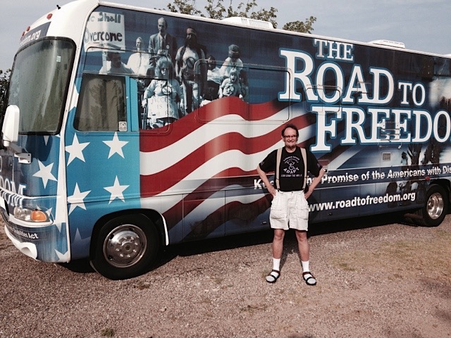 Tom Olin with the Road To Freedom Bus