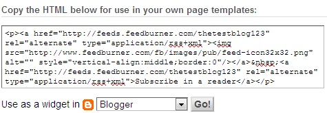 adding feedburner rss widget in blogger
