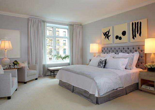 de interiores quarto de cormir decorado a branco, cinza e preto