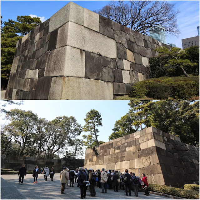 Giant walls are surrounding the Imperial Palace East Garden in Tokyo, Japan