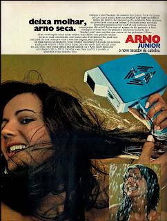 propaganda secador de cabelos Arno - 1976.  década de 70. os anos 70; propaganda na década de 70; Brazil in the 70s, história anos 70. Oswaldo Hernandez;