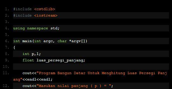 Mencari Luas Persegi Panjang Menggunakan DEV C++