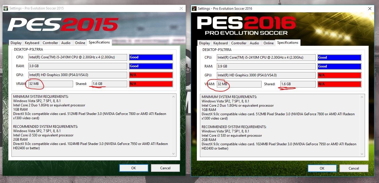 Fix lỗi VRAM khi chơi PES trên một số máy