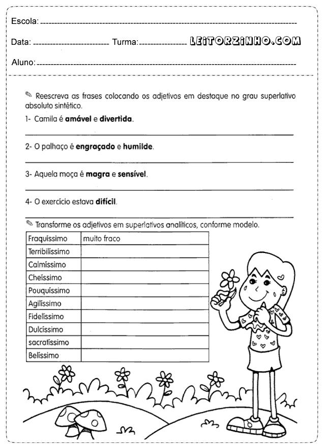 Favoritos Leitores: Atividades português 4° ano adjetivos GZ78