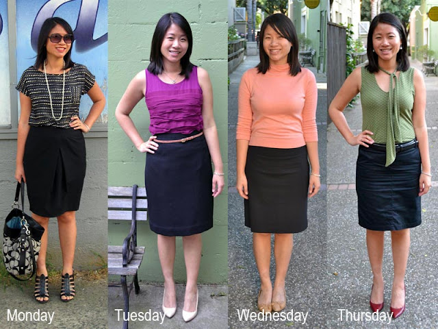 A week's worth of pencil skirts