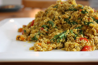 quinoa with orange, spinach and peppers