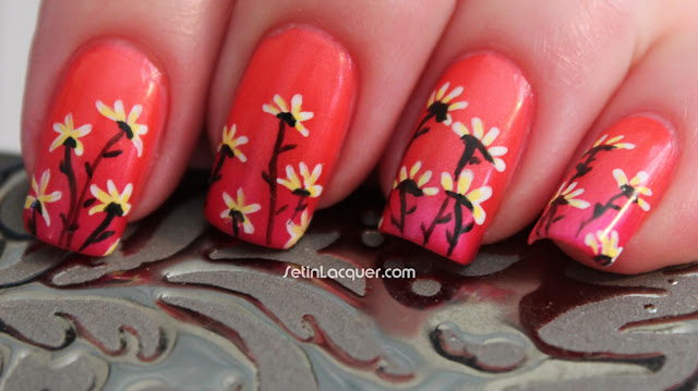 Gradient flower nail art